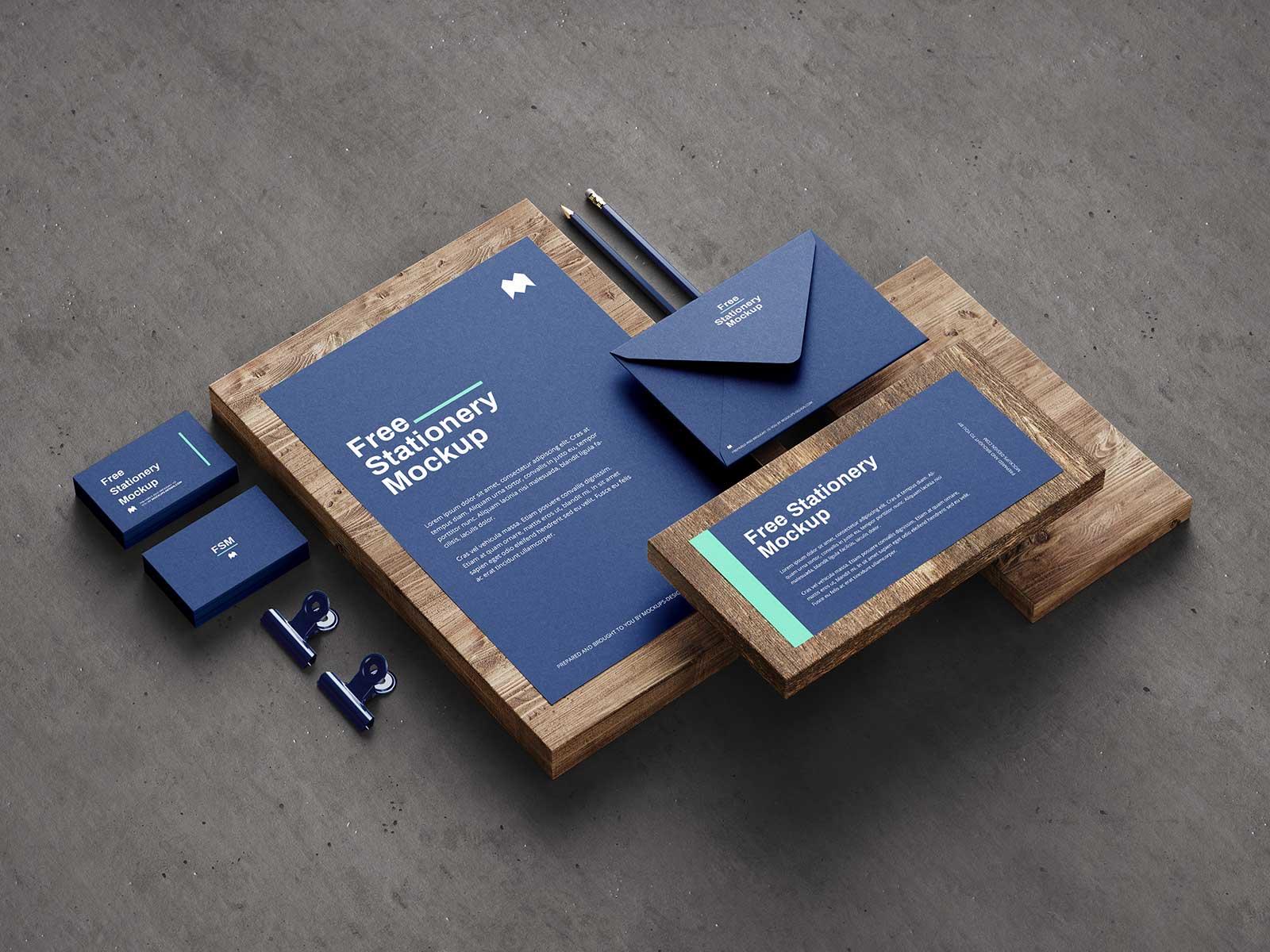 Download Free Wooden Planks Stationery Mockup PSD Set - Good Mockups Free Mockups